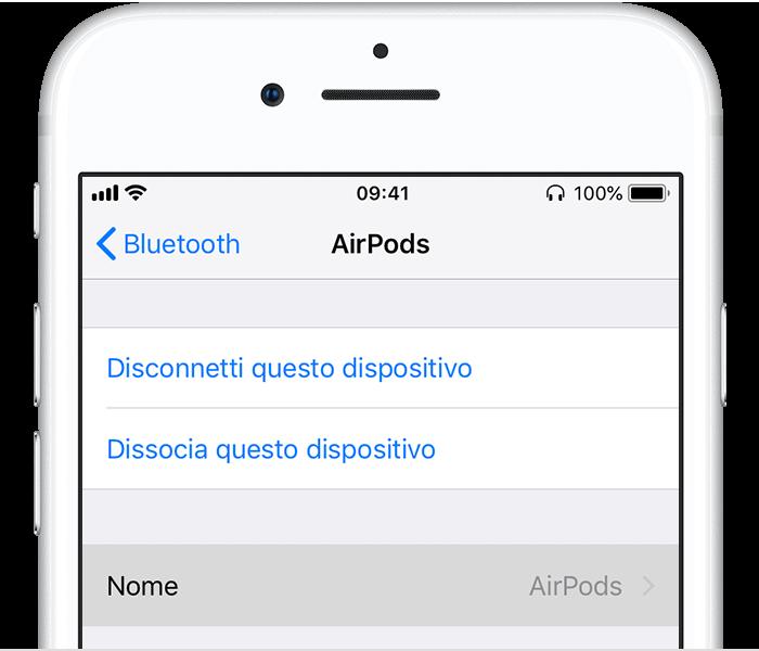 Rinominare Dispositivi Bluetooth iPhone