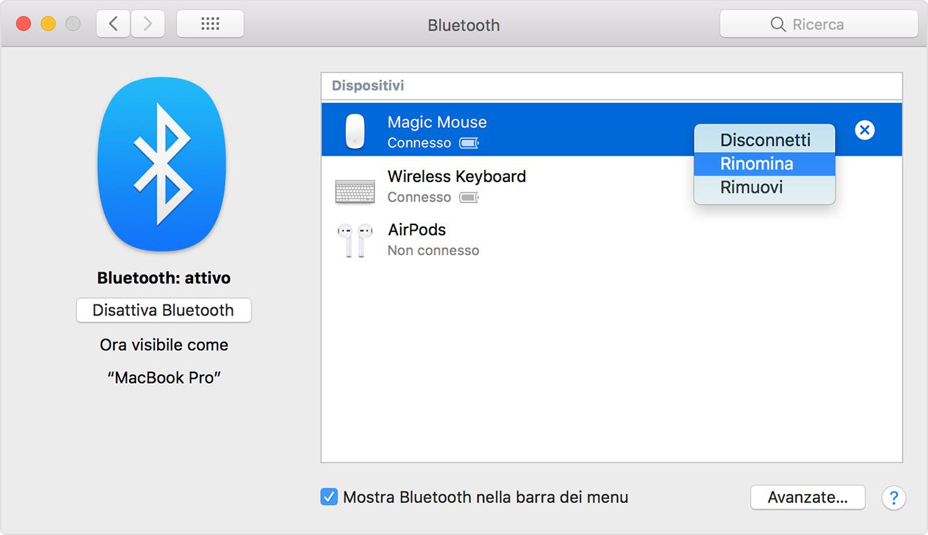 Rinominare accessori Bluetooth Mac