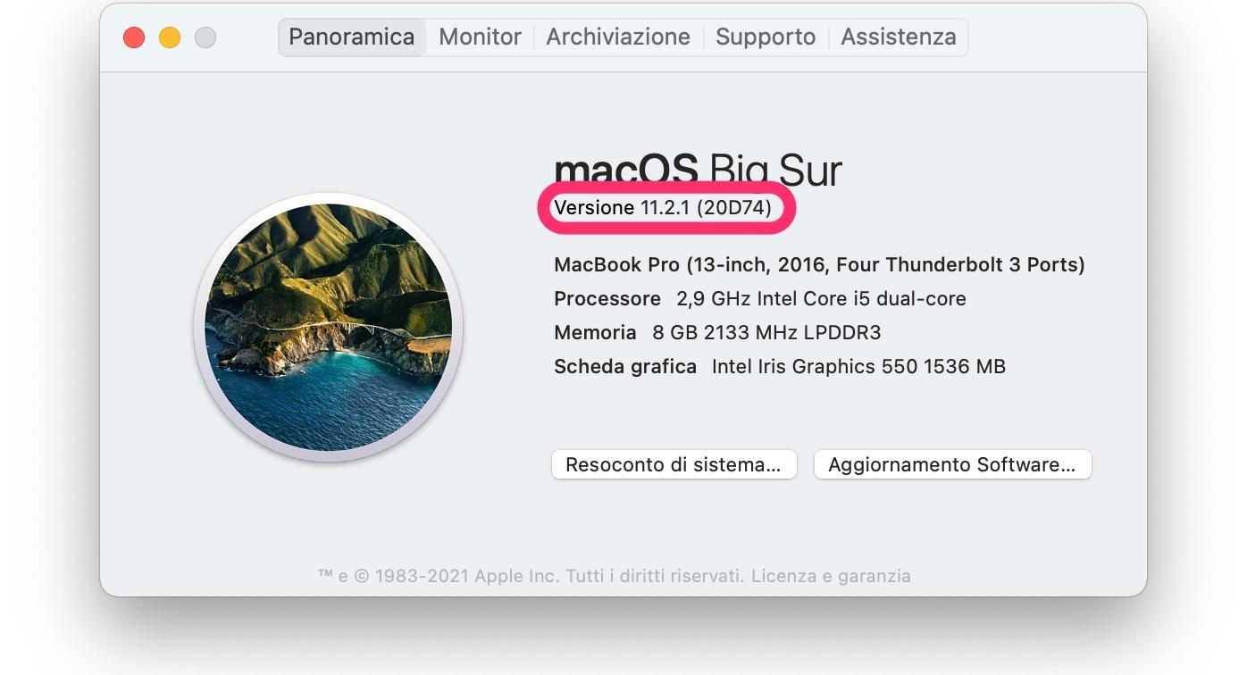 macOS 11.2.1: attenzione alla versione scaricata