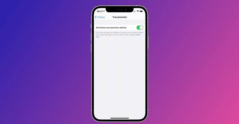 Trasparenza Tracciamento App Non Funziona