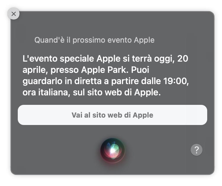 Siri evento Apple 20 aprile 2021