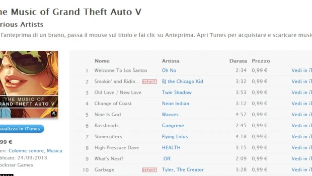 Grand Theft Auto V: la colonna sonora è disponibile su iTunes
