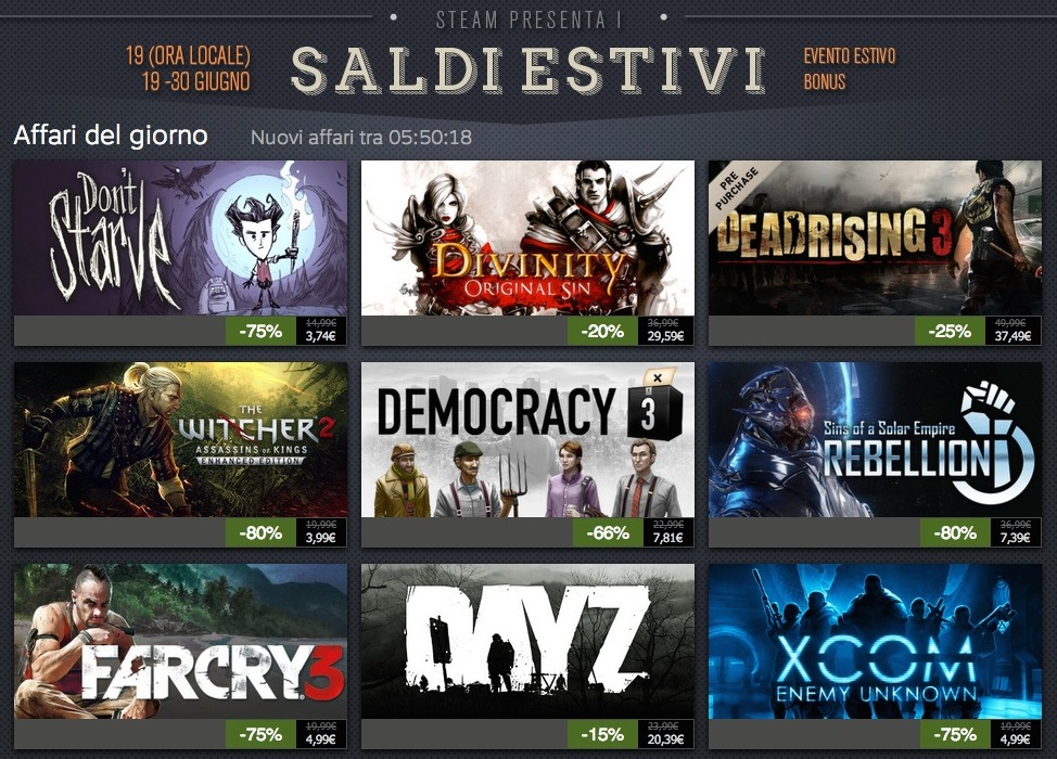 Saldi Steam estivi 2014: si parte con The Witcher 2 all'80% e Far Cry 3 al 75%