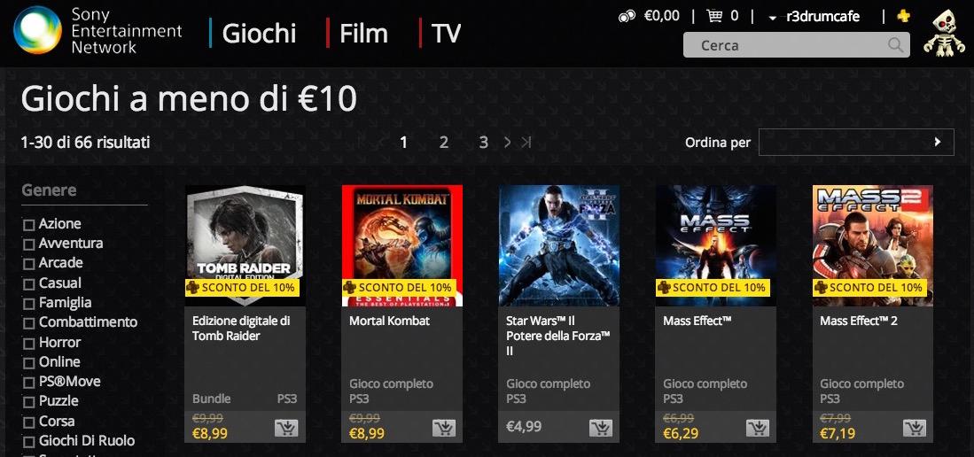"""PlayStation Store, al via gli sconti """"Giochi a meno di 10€"""""""