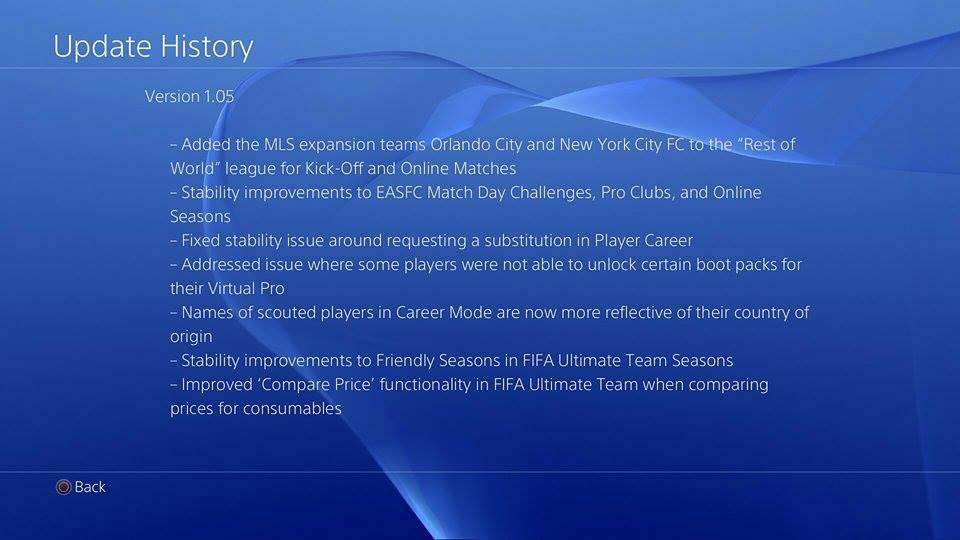 FIFA 15 si aggiorna alla versione 1.05