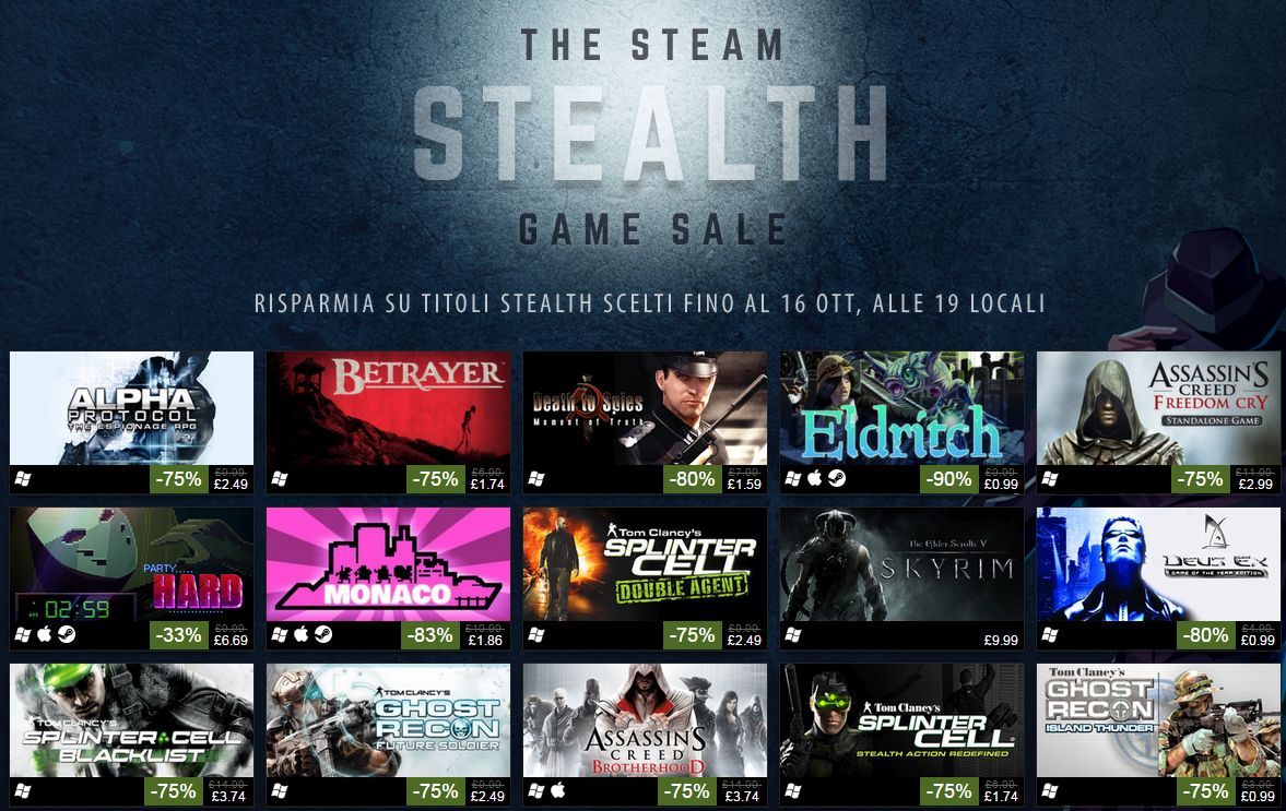 Steam Stealth Sale: Thief, Assassin's Creed, Ghost Recon e altri titoli con sconti fino al 90%