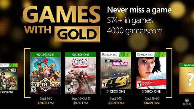 Games With Gold, ecco quali saranno i videogiochi gratuiti di Settembre
