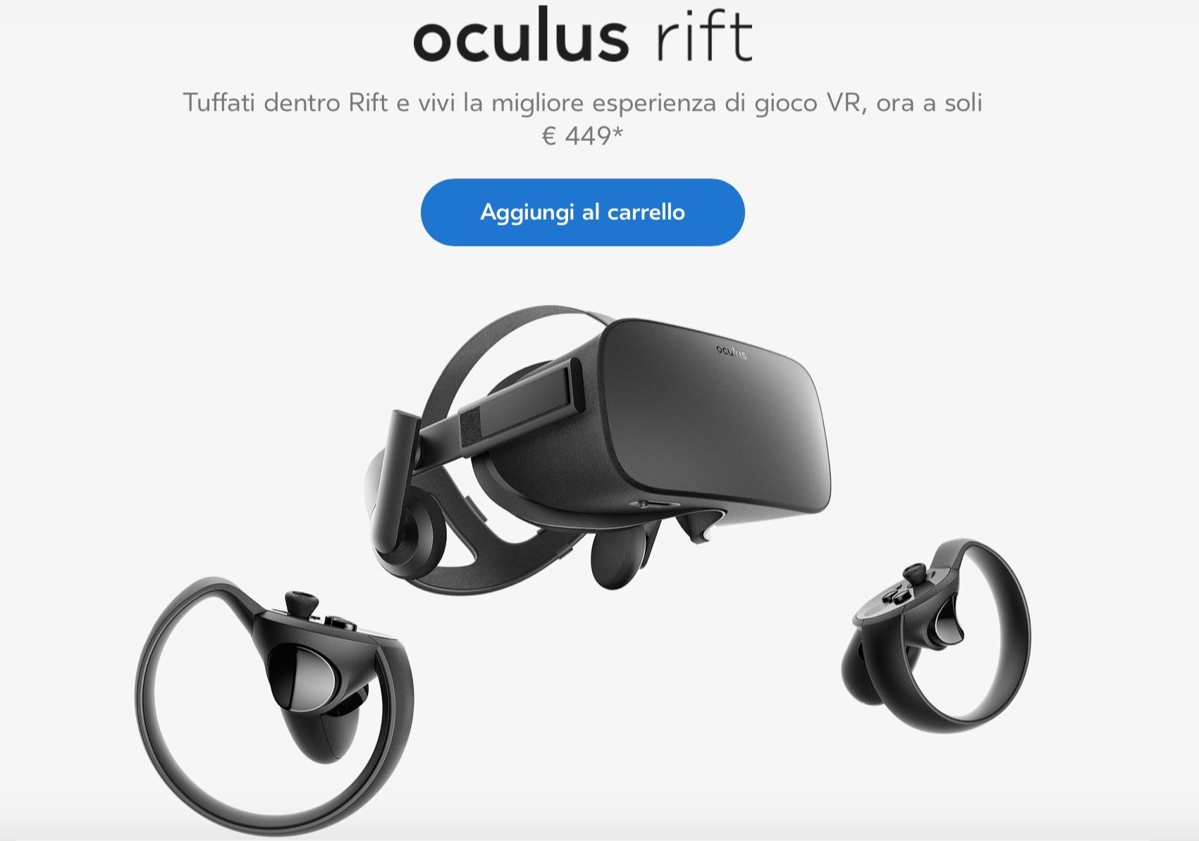 Oculus Rift, il prezzo scende a 449 euro