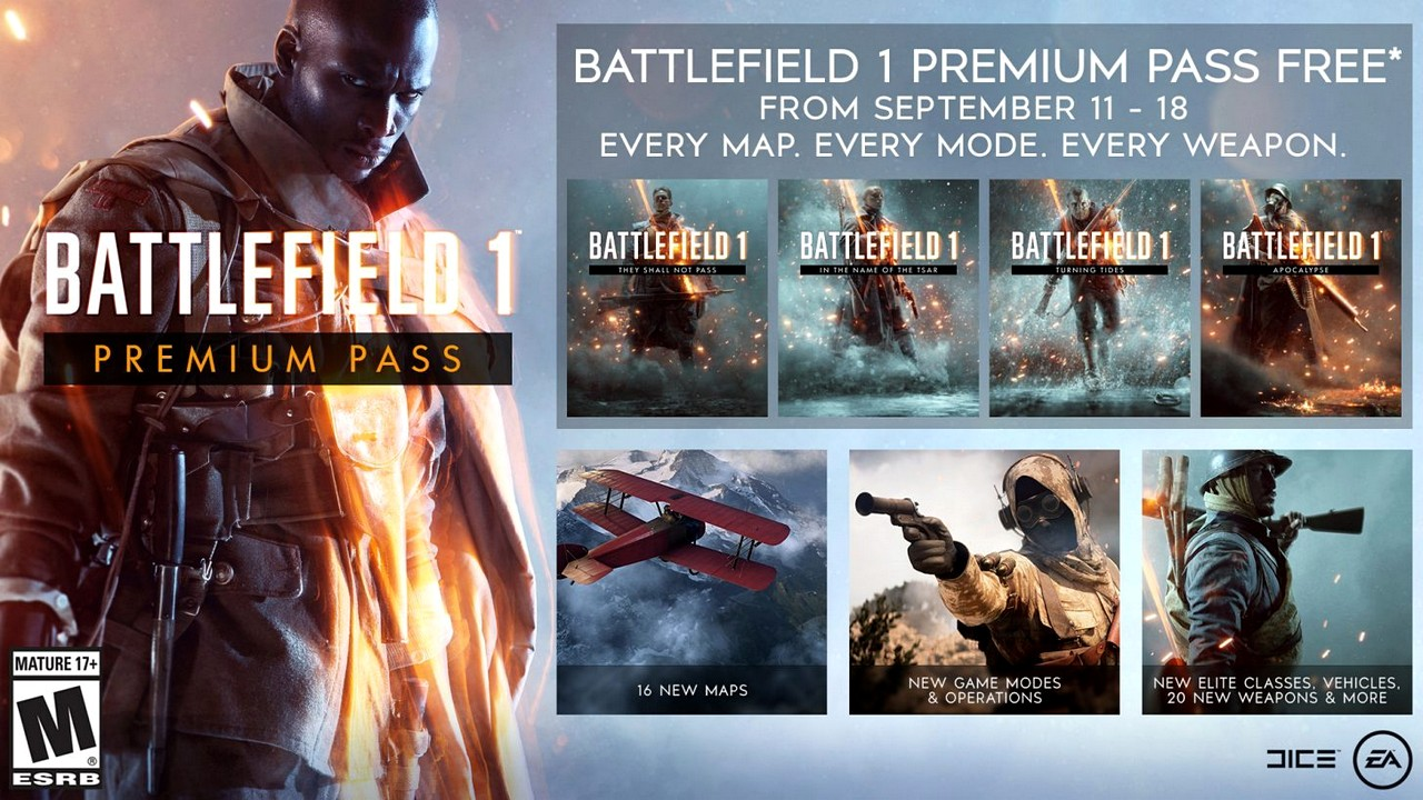 Battlefield 1: il Premium Pass scaricabile gratuitamente dall'11 al 18 settembre