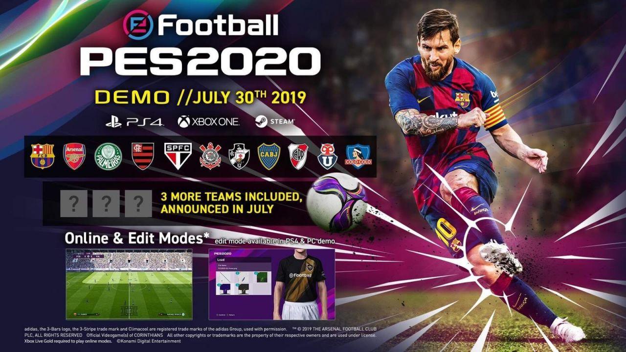 eFootball PES 2020: Konami svela la data di uscita e le squadre della Demo