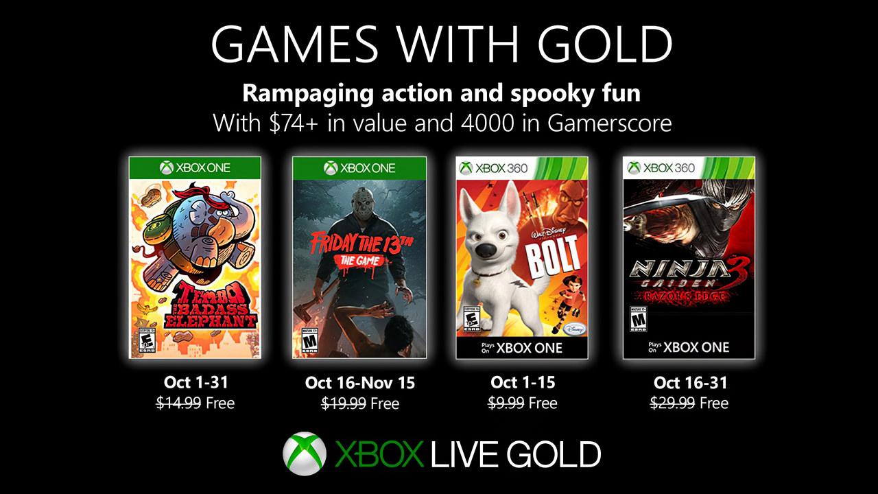 Xbox Games With Gold: annunciati i giochi gratis di Ottobre 2019